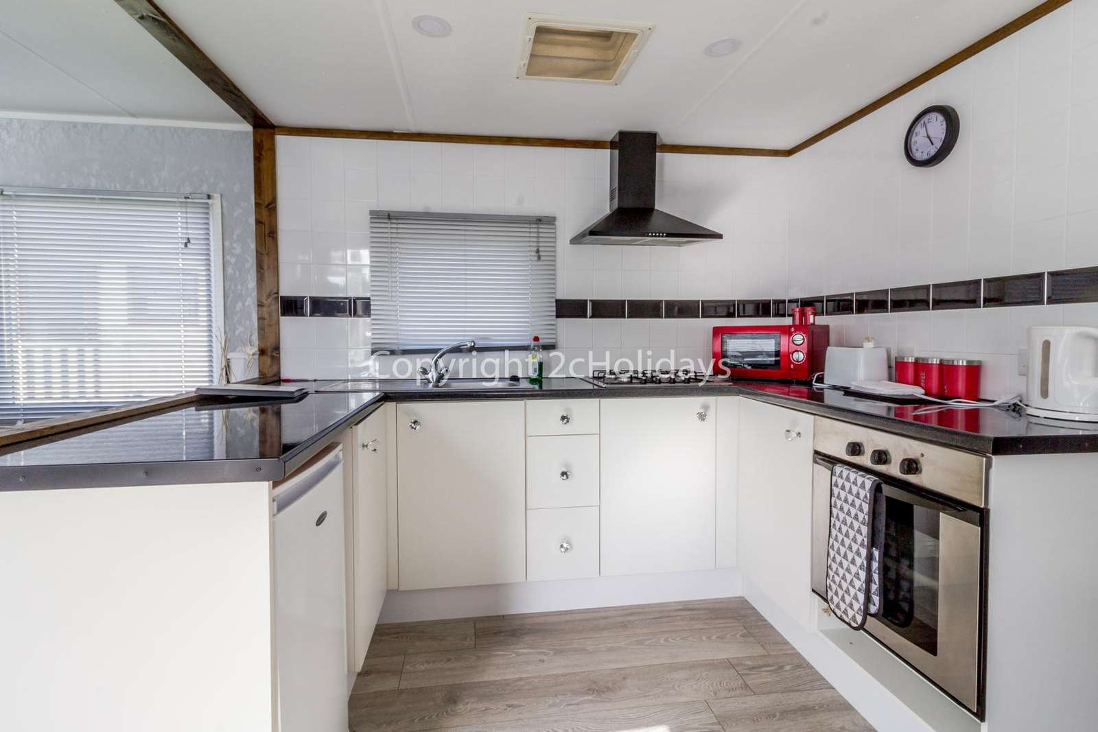 Kitchen space is ideal for a self catering holiday.