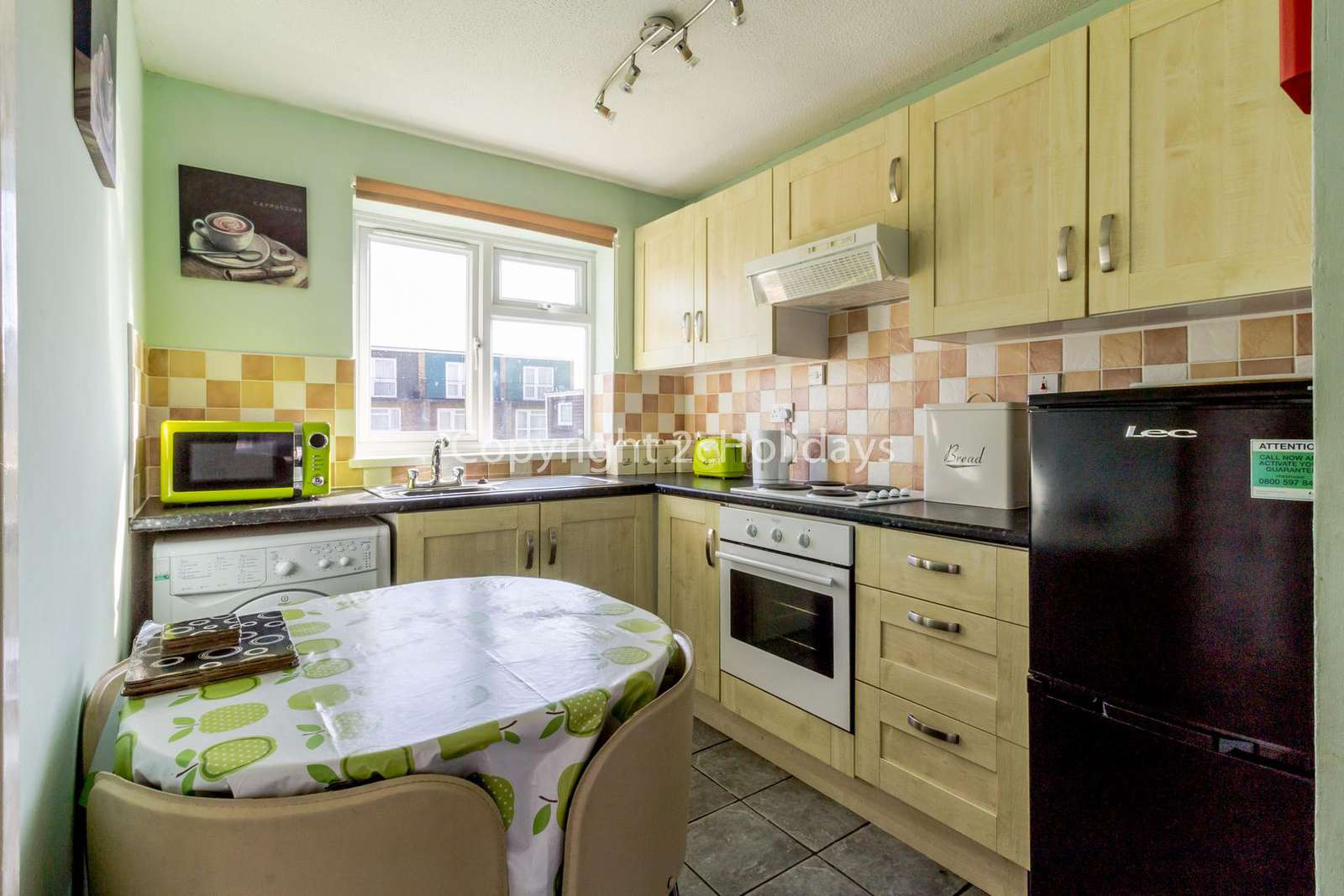 Kitchen is perfected for self catering breaks with a full size cooker!