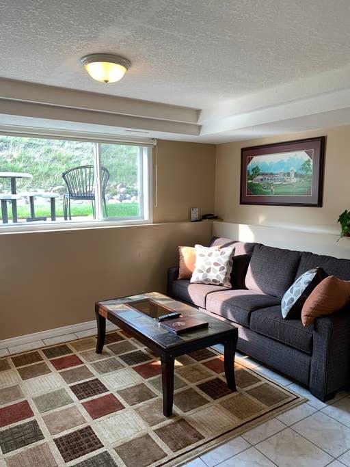 Lower level condo living room.