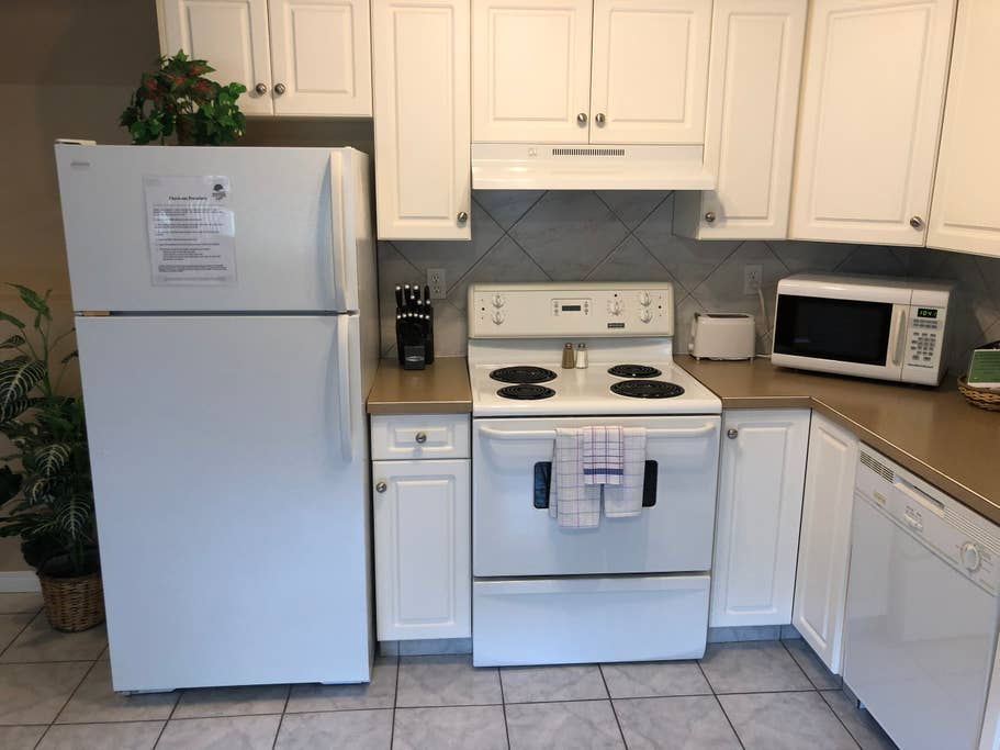 Fully equipped kitchen in lower level condo.