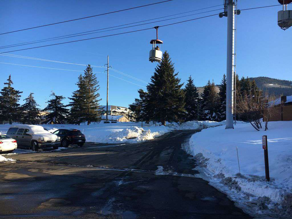 Gondola route is over the condo parking lot