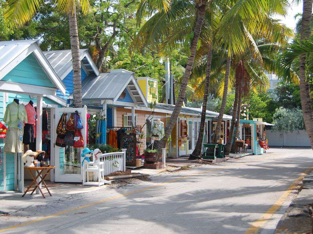 Old town Key West has many shops this is Bahama Village near the harbor