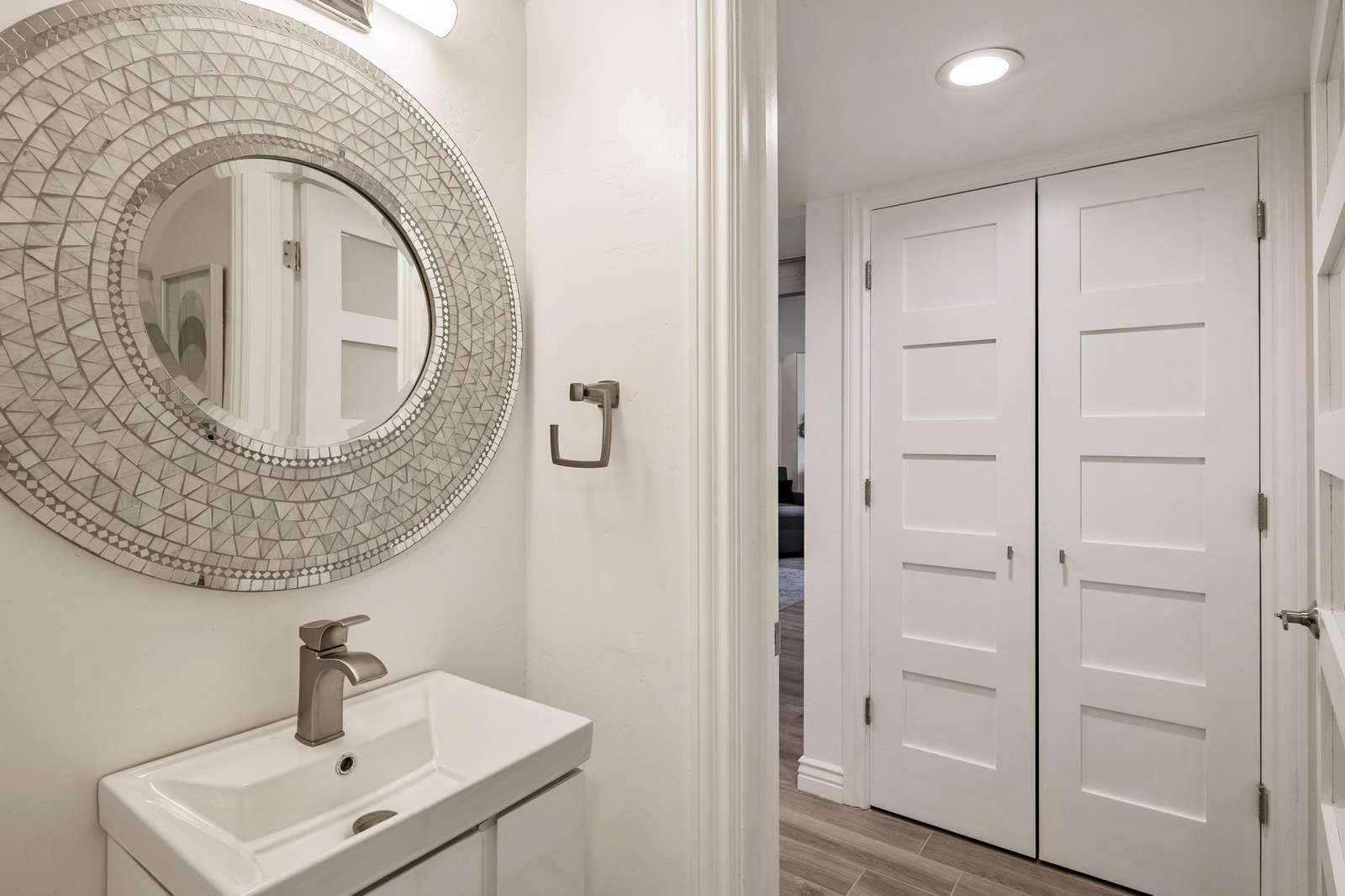 Bold mirror in main bathroom