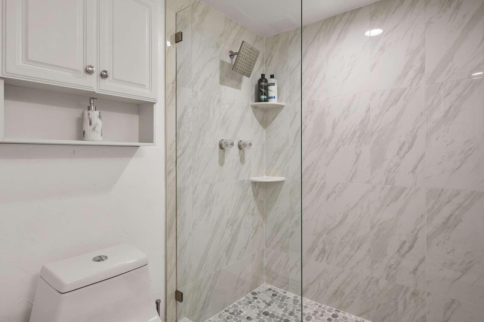 Beautiful bathroom with rain shower