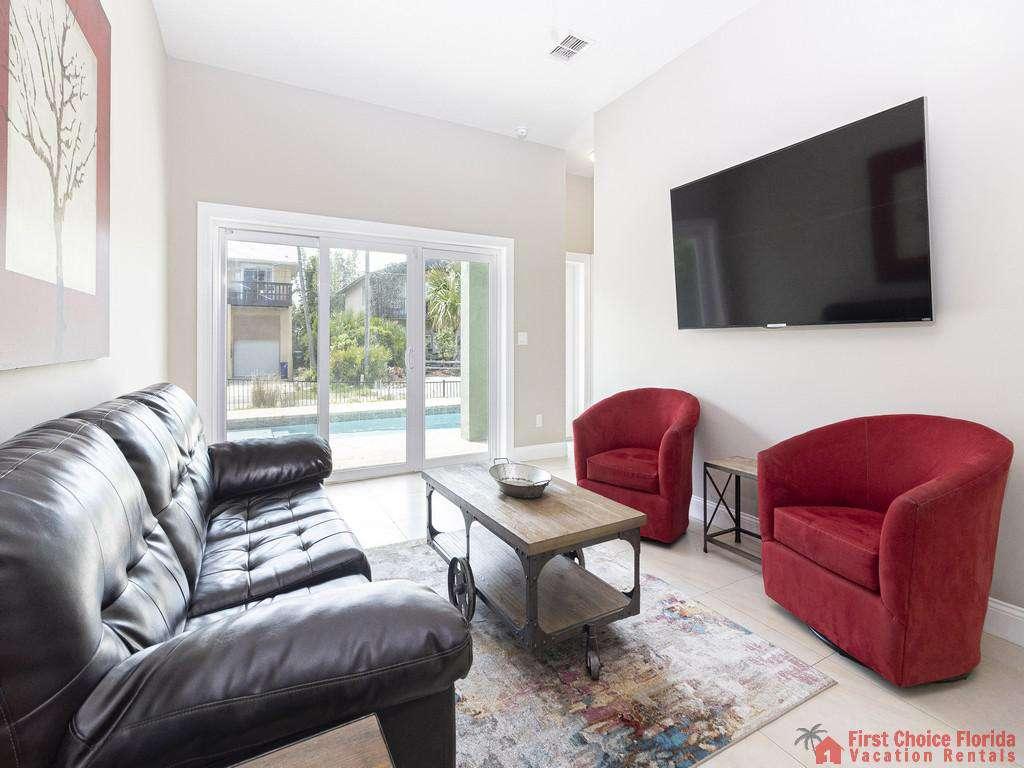 Sea View First Floor Living Room & TV