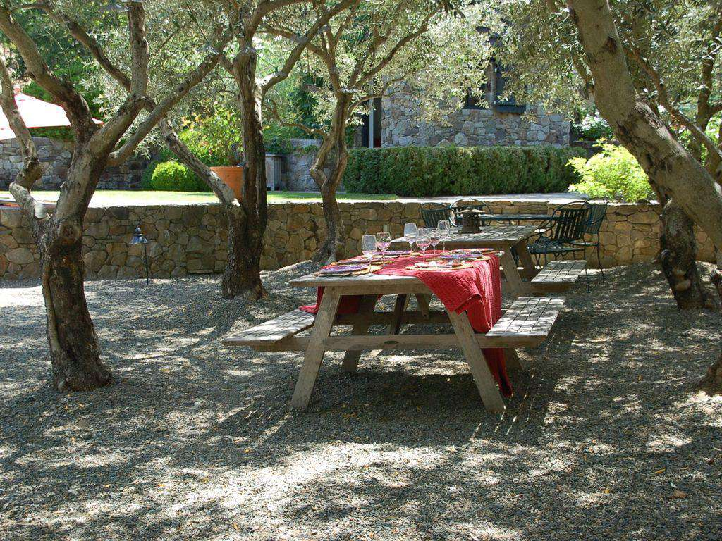 Outdoor picnic area and table