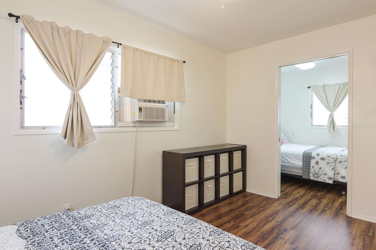 Master Bedroom A with lockable pocket door to separate Bedroom B