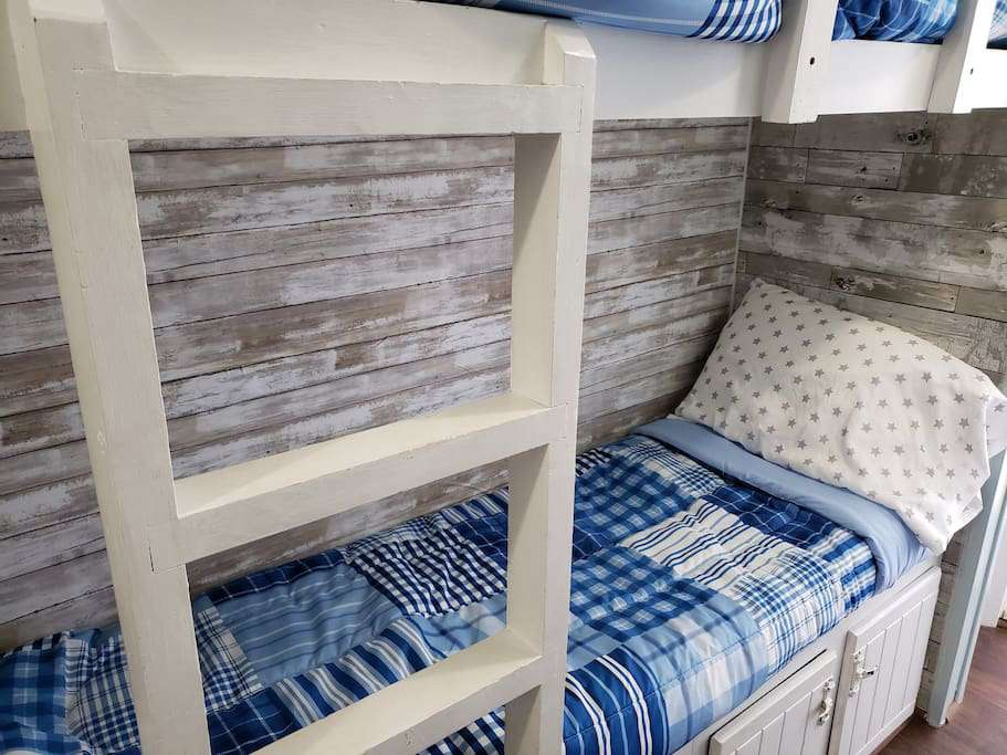 bunks are perfect for kids!   They will fit a 6' adult if needed