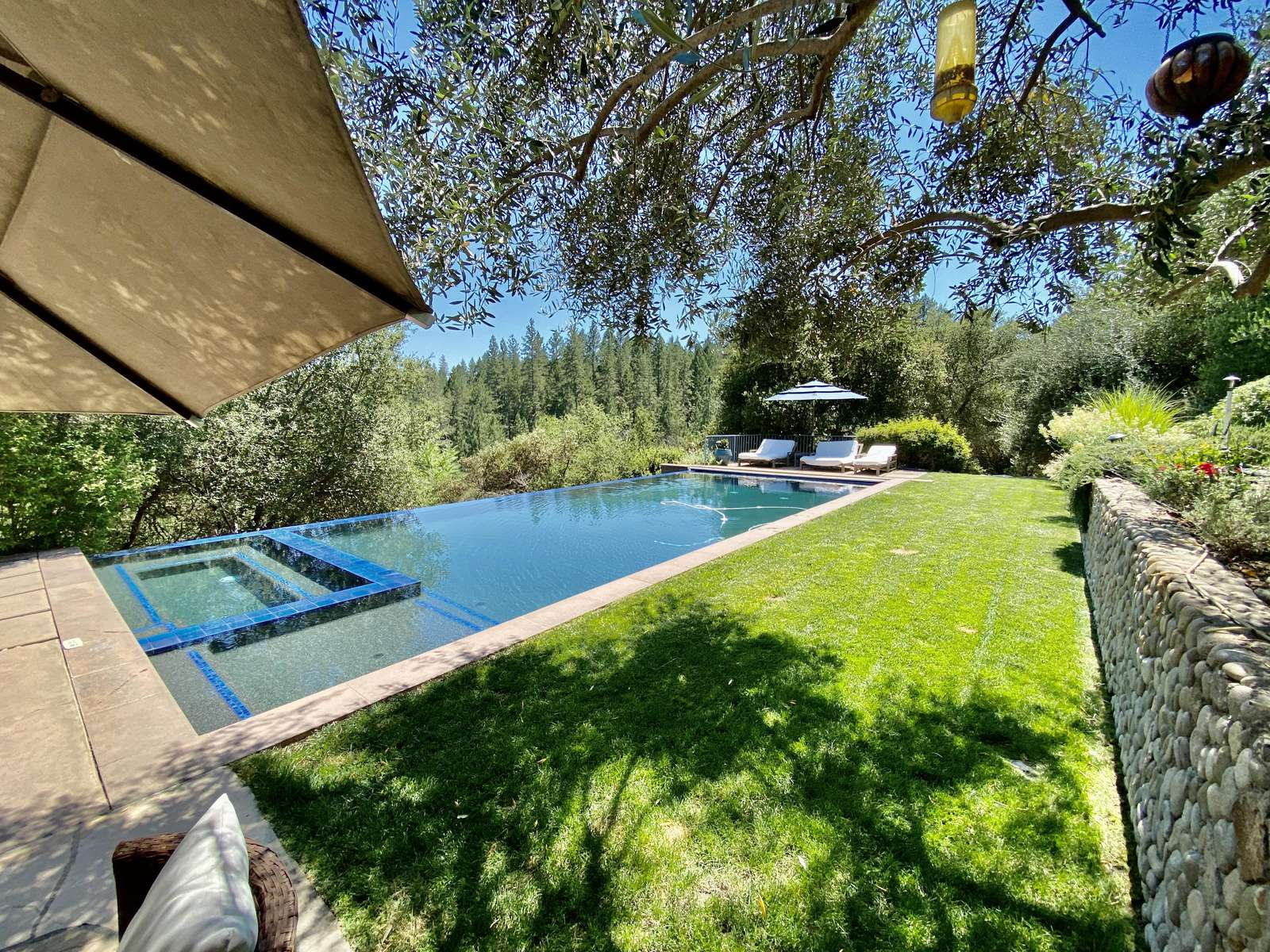 Green grass surrounding large heated pool
