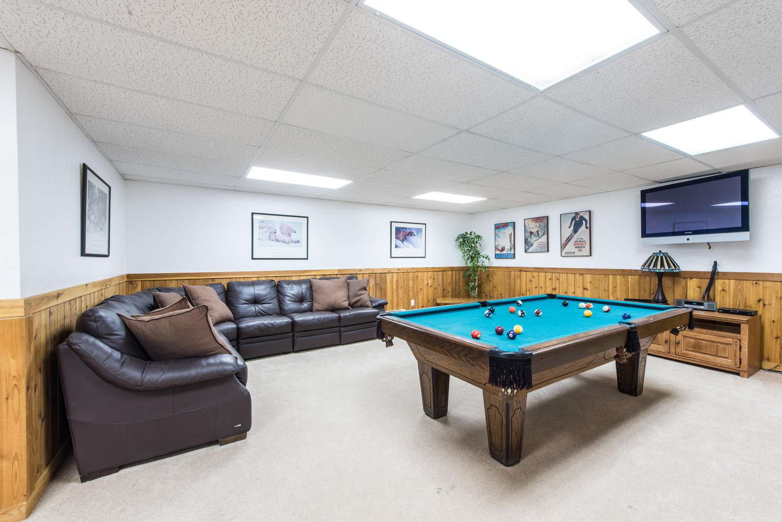Fun lounge and game room on lower level