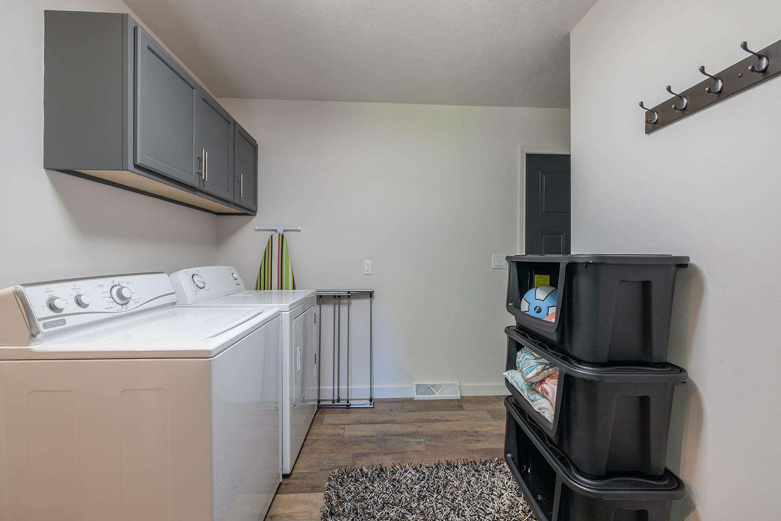 Huge laundry room! Soap, dryer sheets, bleach included!!