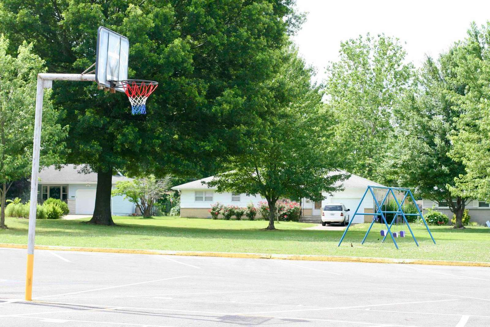 Basketball court directly across the street