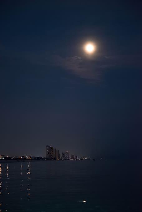 Night view of the Gulf Of Mexico & Panama City Beach