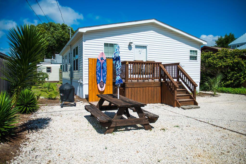 Outside Picnic Table - Surfboard Shower - Charcoal Grill - Wooden deck w/chairs