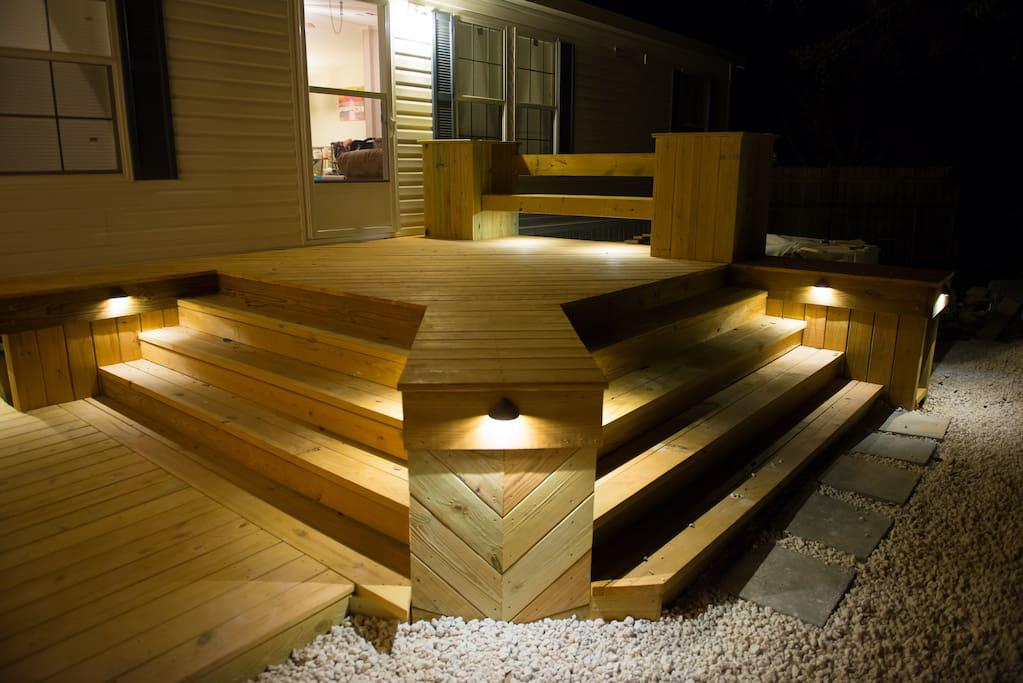 Night view of deck with Accent Lighting