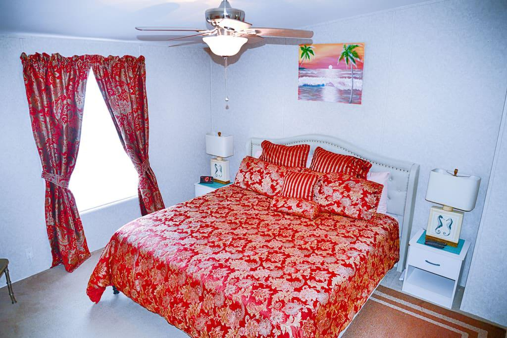 Master Bedroom, King size Bed, Ceiling Fan, Lamps, Alarm Clock, Flat Panel TV, Wow cable and power strips by night stands for phone chargers
