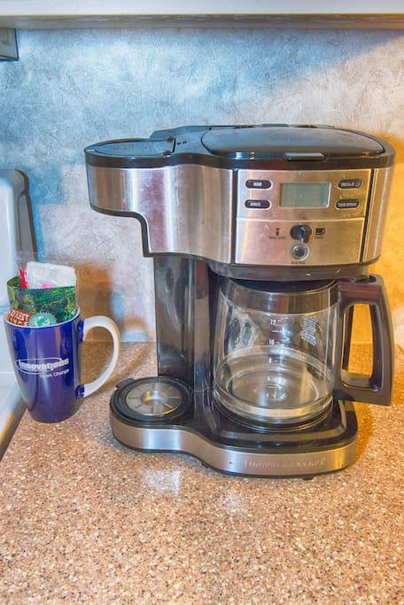 Coffee Maker and complimentary first cup of coffee