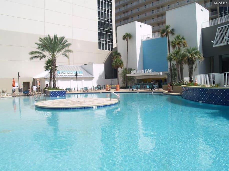 Pool #1 view towards the Splash Bar