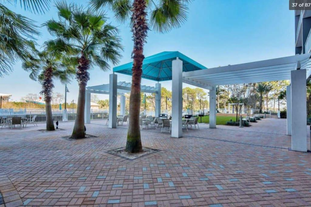 Nice area to grill and enjoy the evening with family by the Laketown Wharf Boardwalk