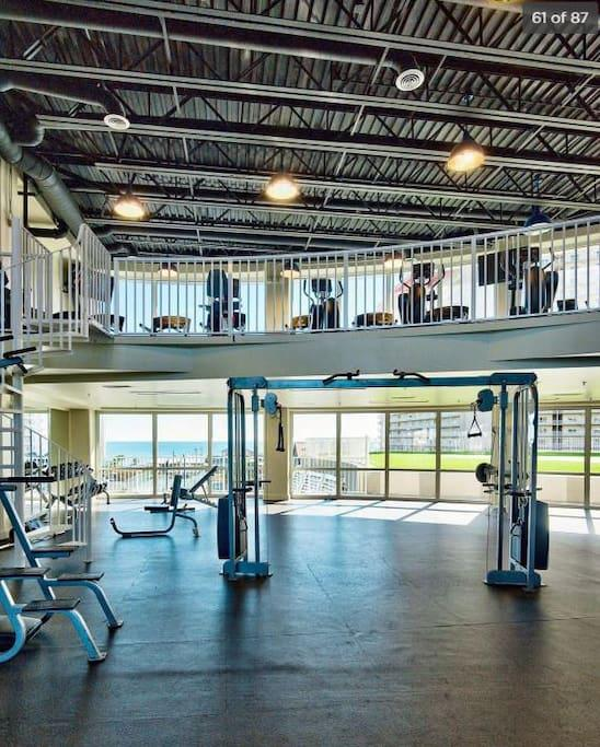 Gym on 4th Floor...same as our Condo! With views of the Gulf of Mexico to motivate your workout!!!