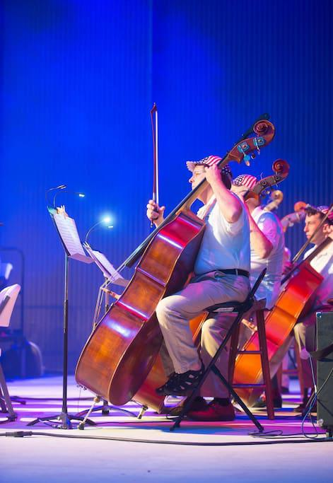 Panama City Pops plays during 4th of July Celebration at Pier Park open air Theatre with a large grass area to sit and enjoy