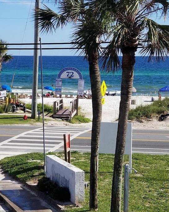 View at entrance to Southwind Condominiums. Walk across to beach