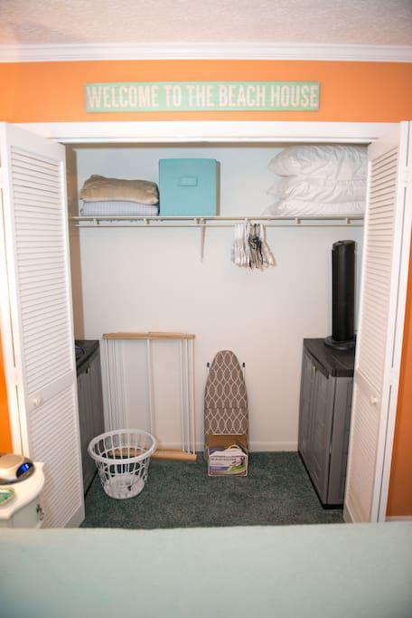 Closet in Master Bedroom with Iron/Ironing Board, Pillows and Blankets