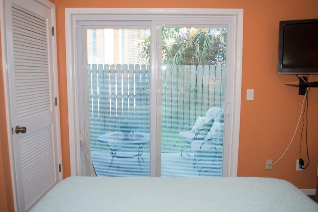Master Bedroom with Sliding Glass door out to back porch