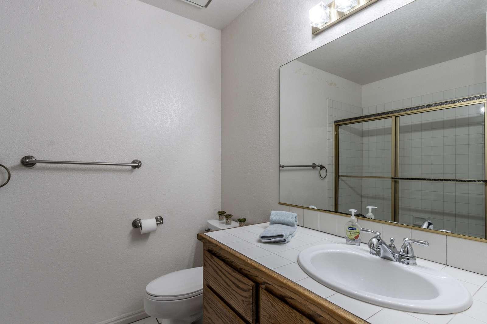 Upstairs bathroom.bath shower