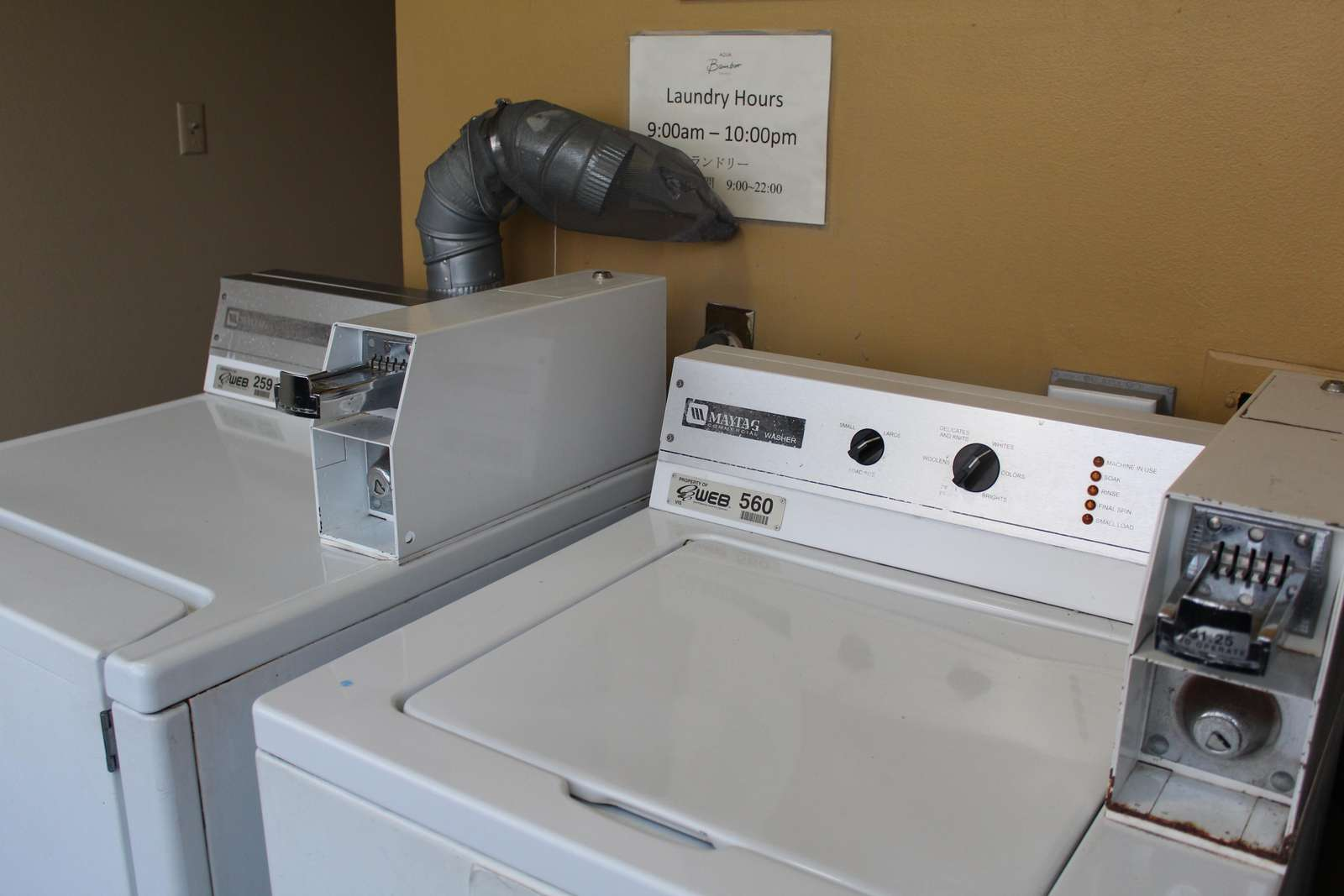 Laundry facilities on several floors