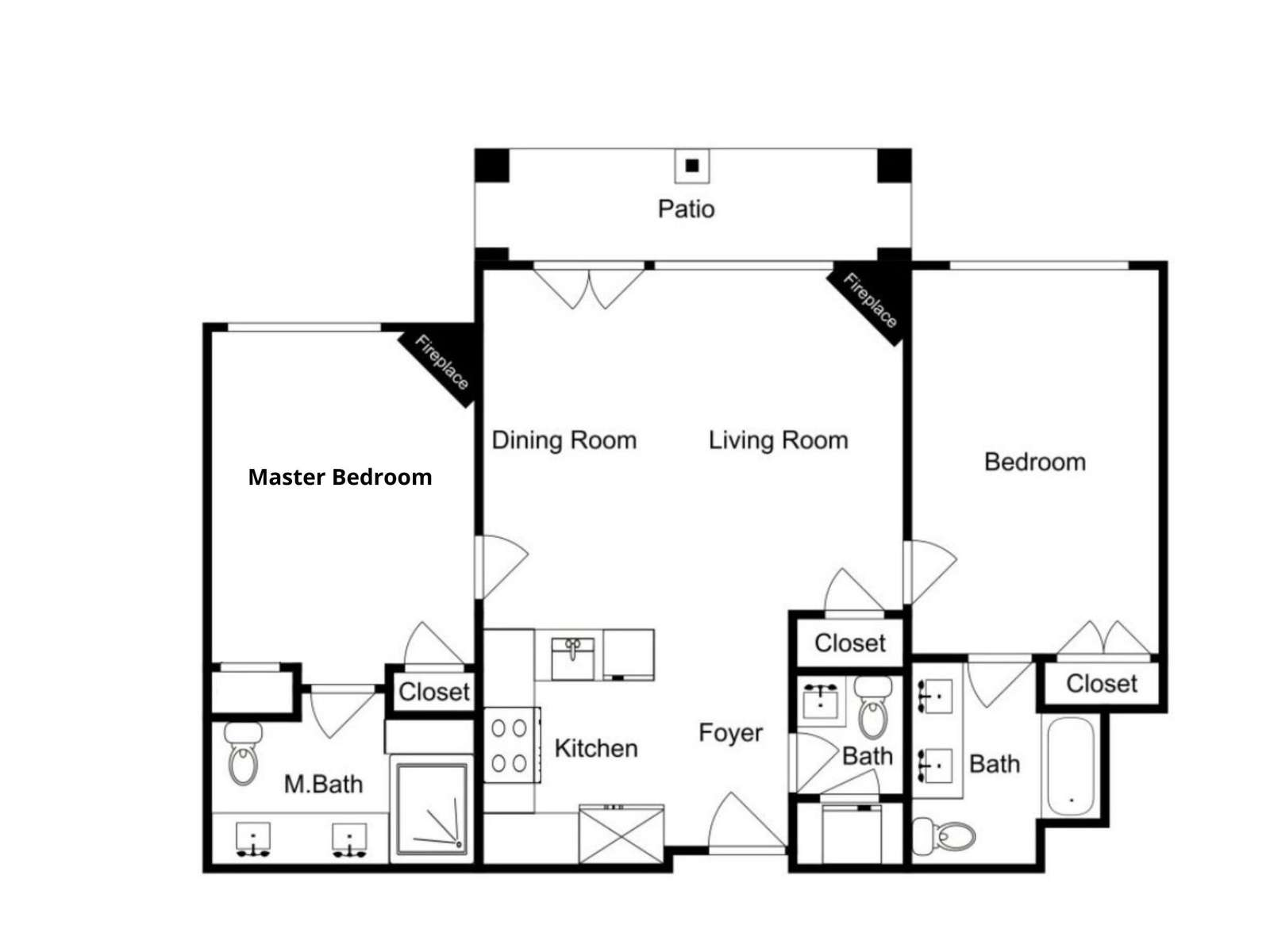 Floorplan - the private hot tub is on the patio