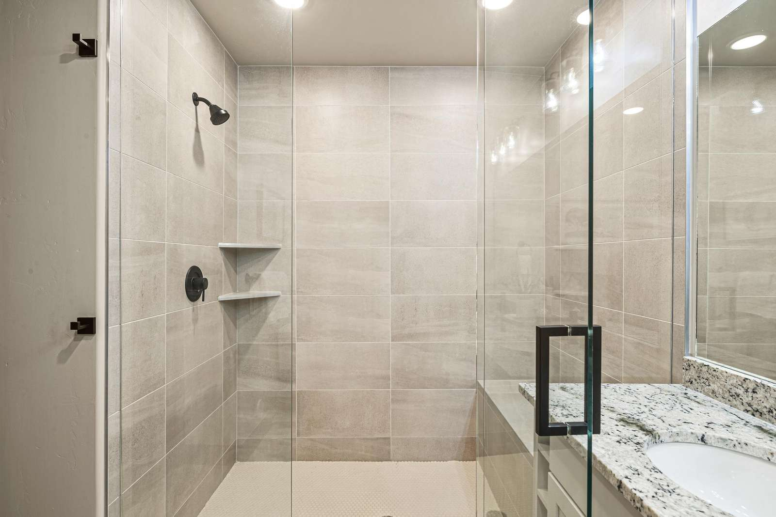 Master bathroom with a beautiful walk-in shower