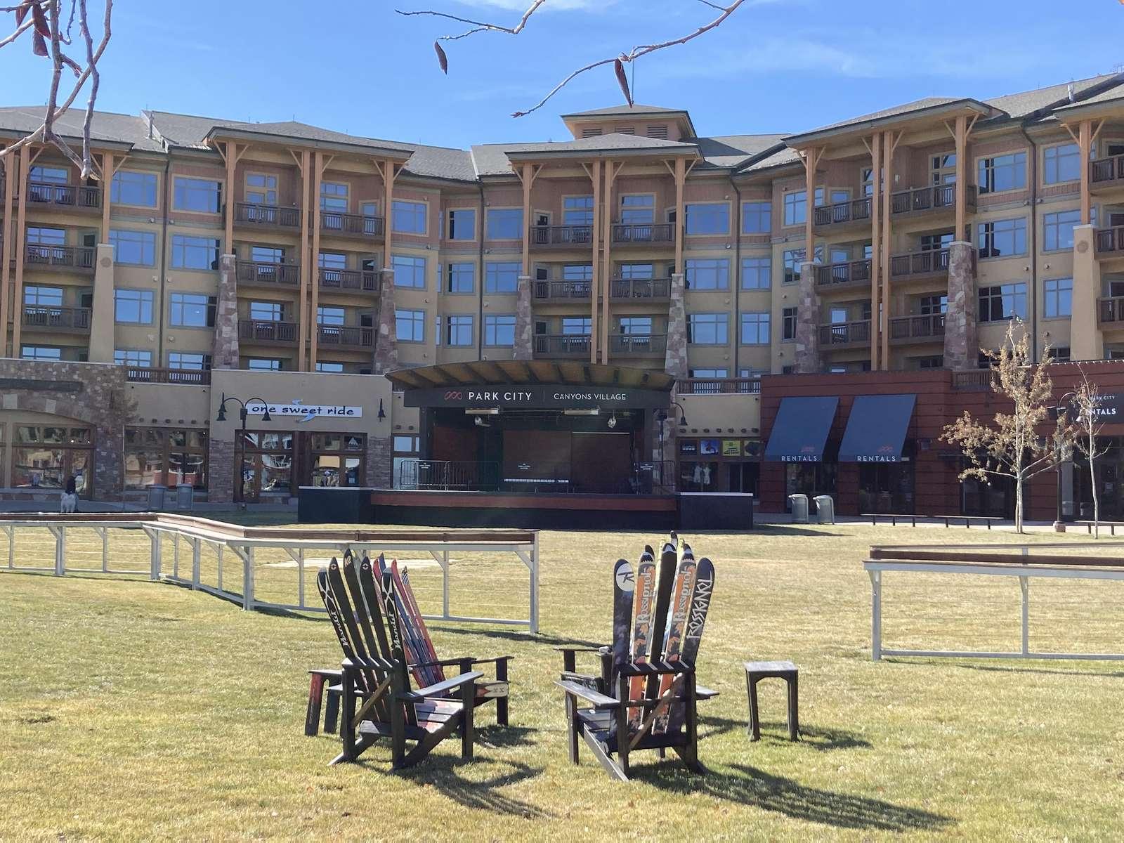 Canyons Village has the ski beach, ski lifts, restaurants, shops, rentals, and the ski and snowboard valet
