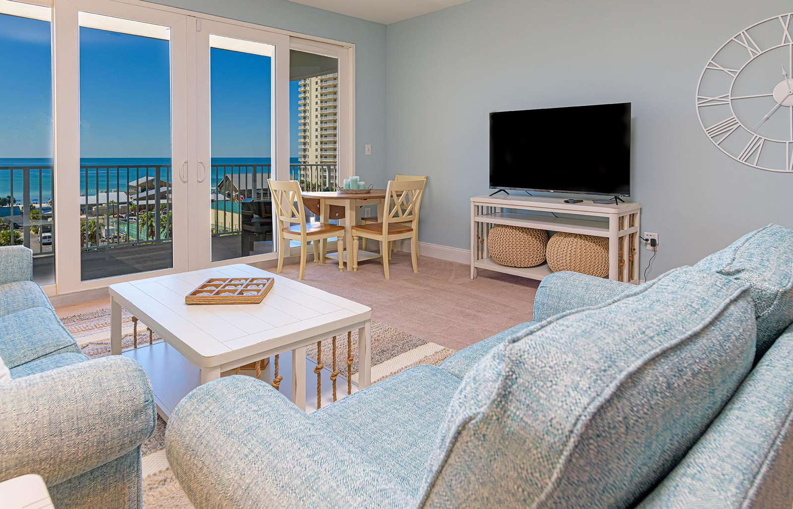 The living area provides beach views, cable tv and more!