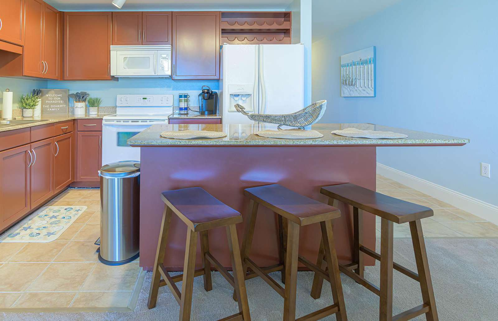 Seating for 3 at the eat-in stocked kitchen!
