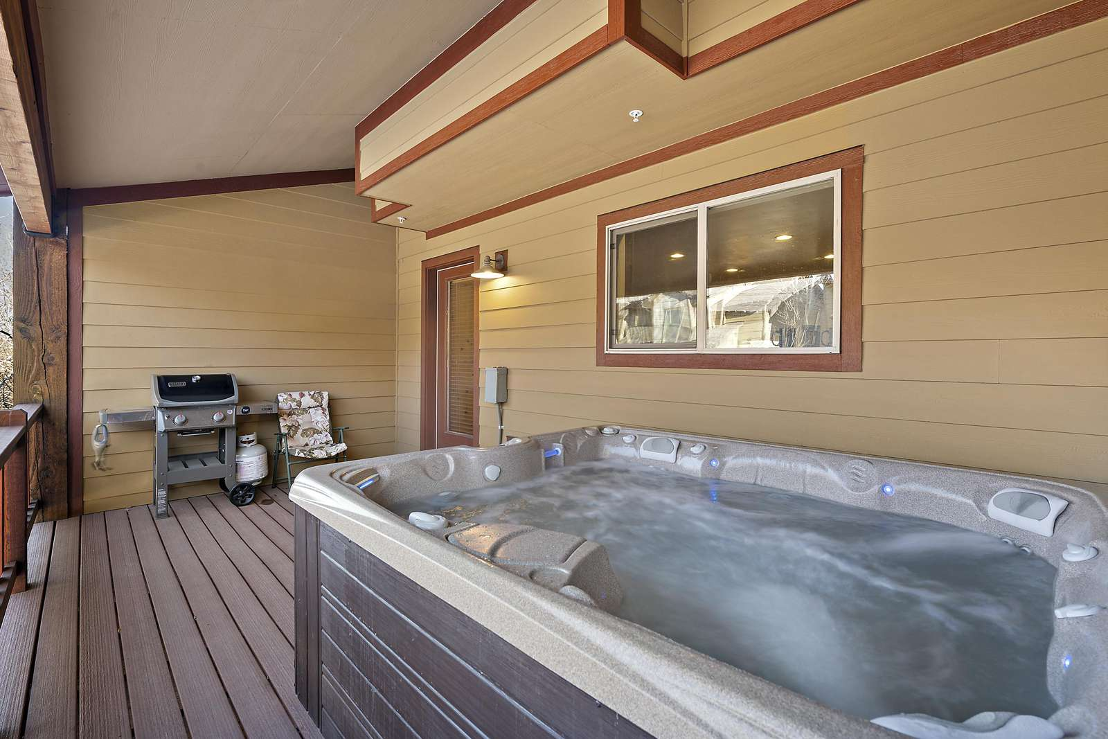 Private deck space with BBQ and hot tub