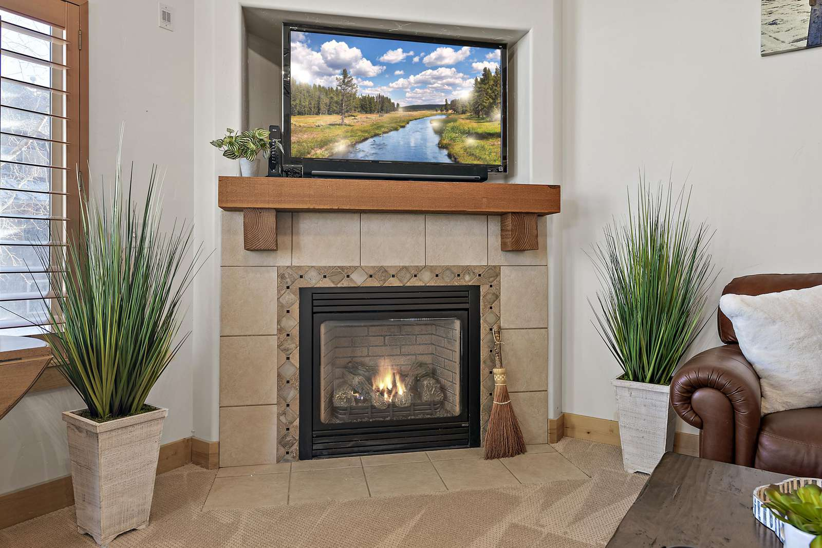 Fireplace and TV to enhance experience