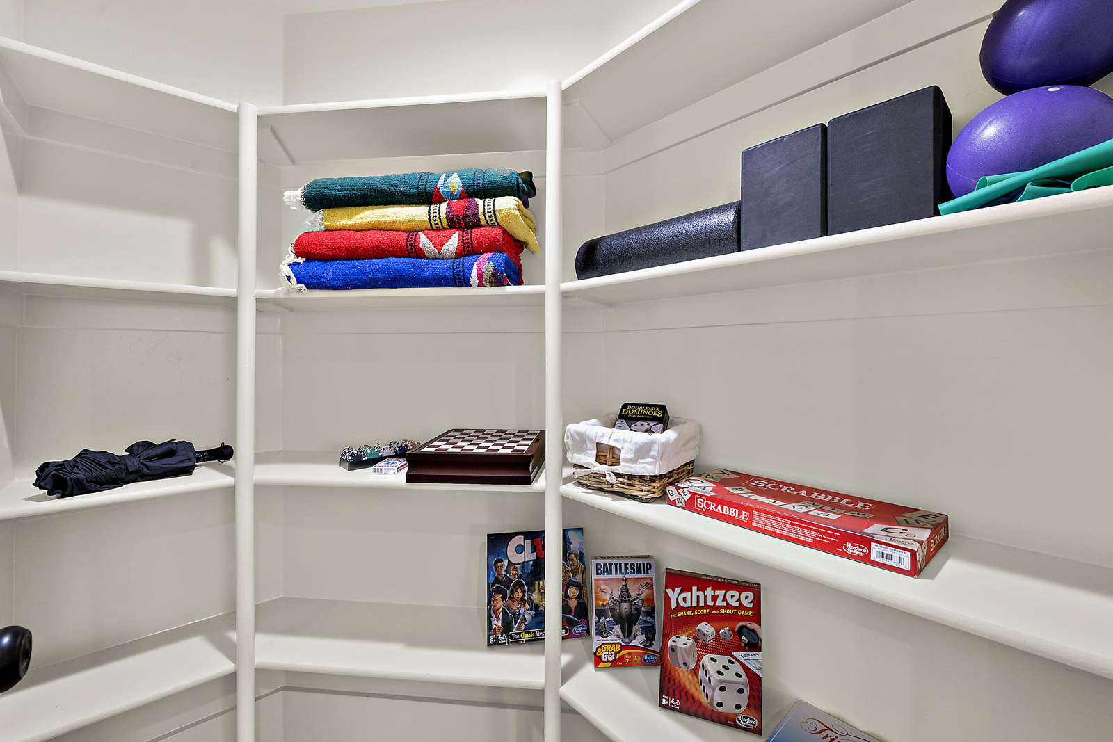 Closet space provided with games and more