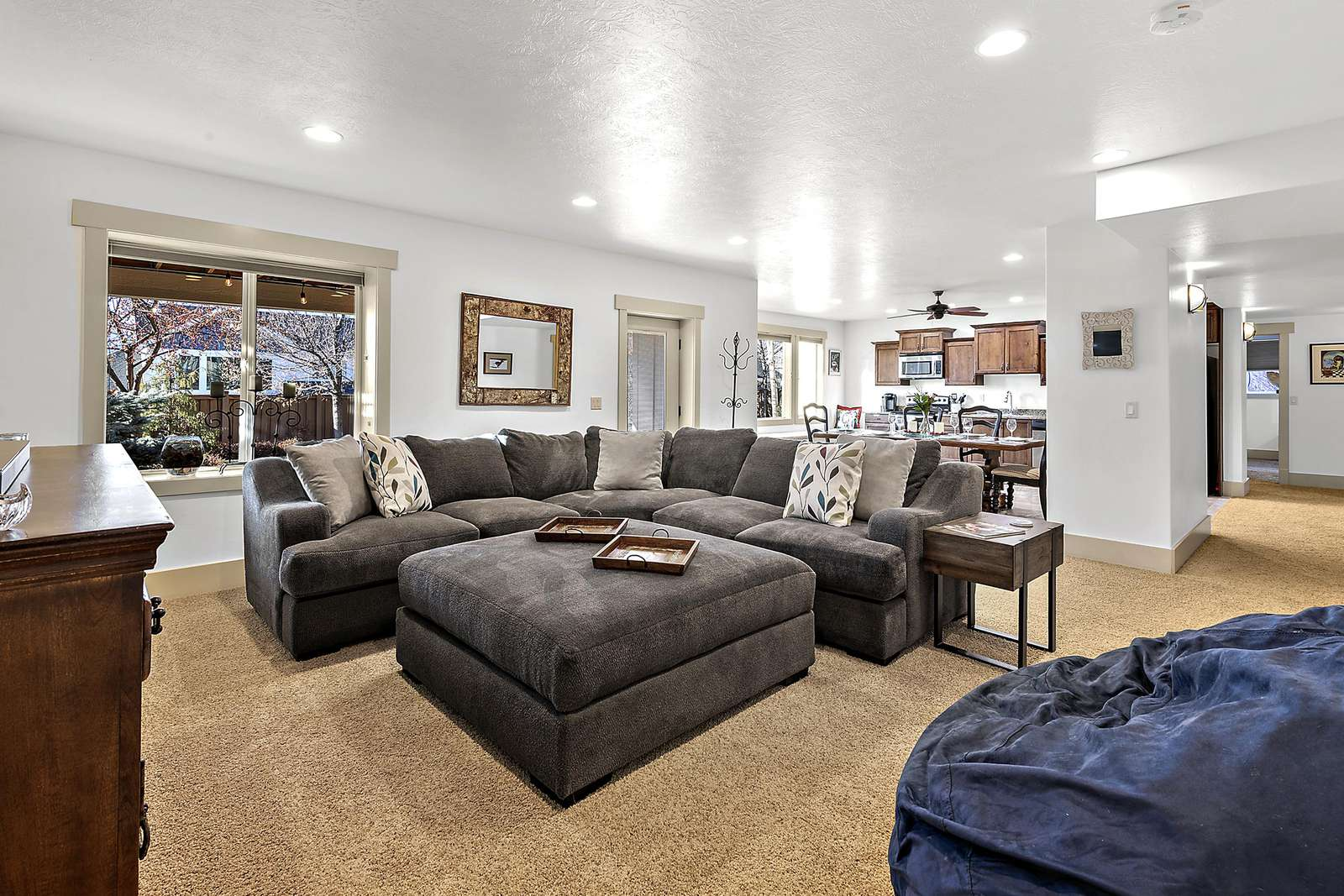 Spacious open living and kitchen