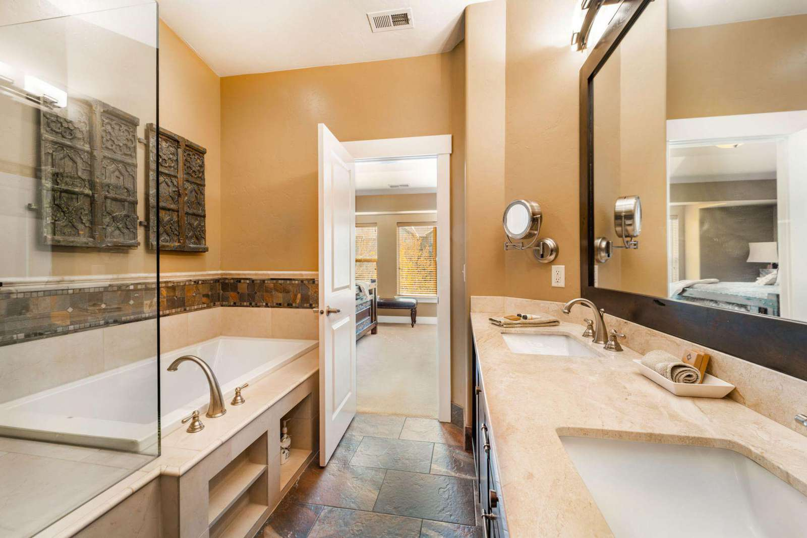 Walk-in shower separate from tub
