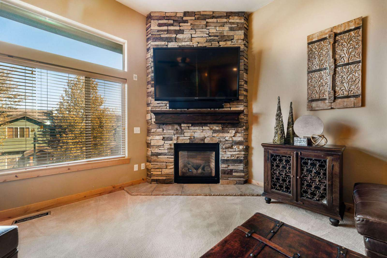 TV and fireplace for comfort