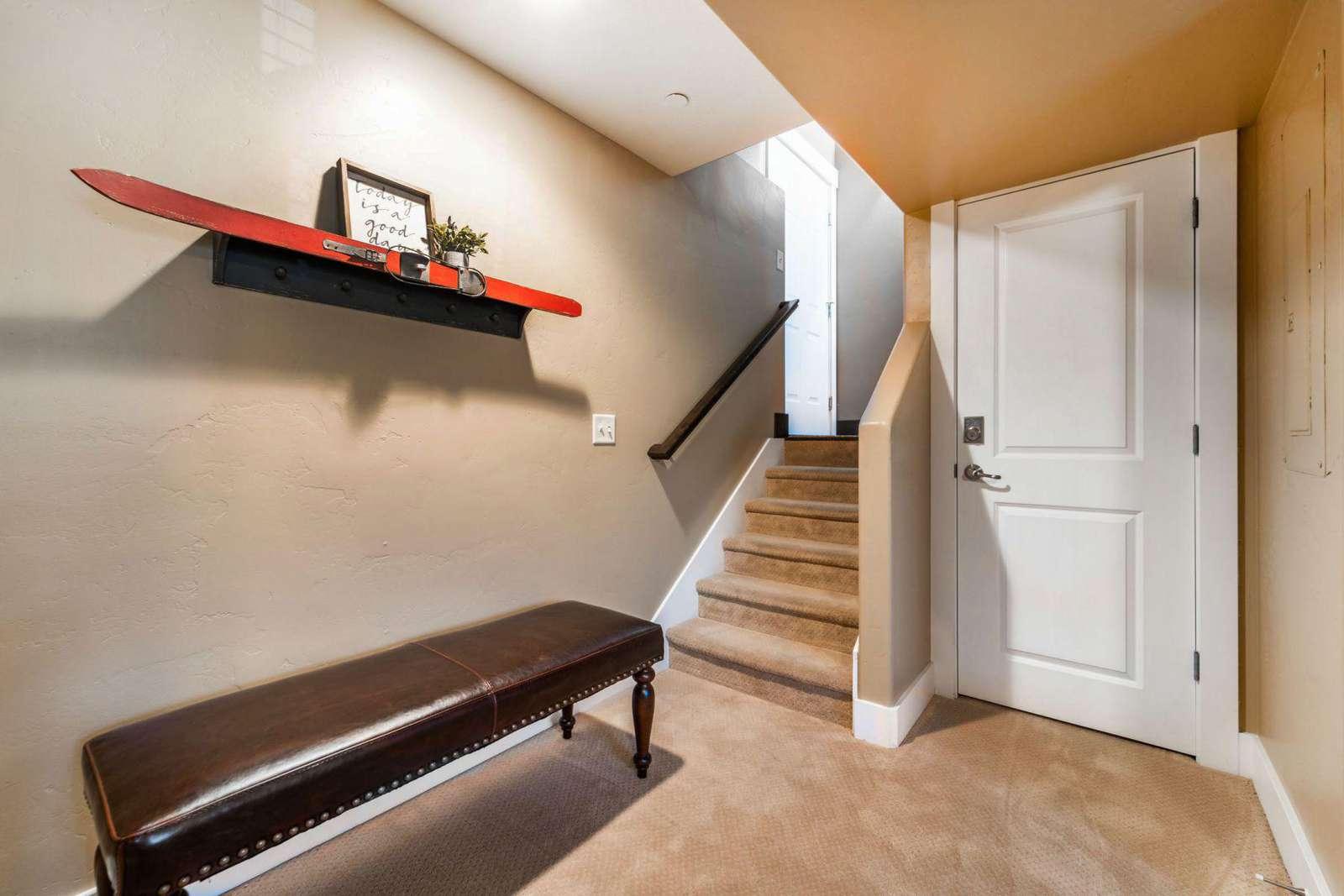 Downstairs hallway next to garage door