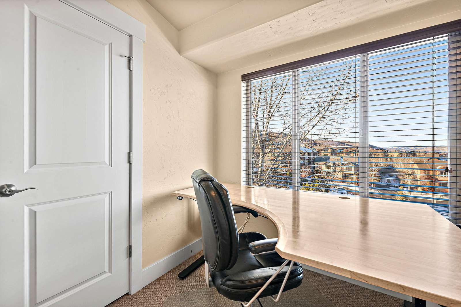 Large desk with amazing window views