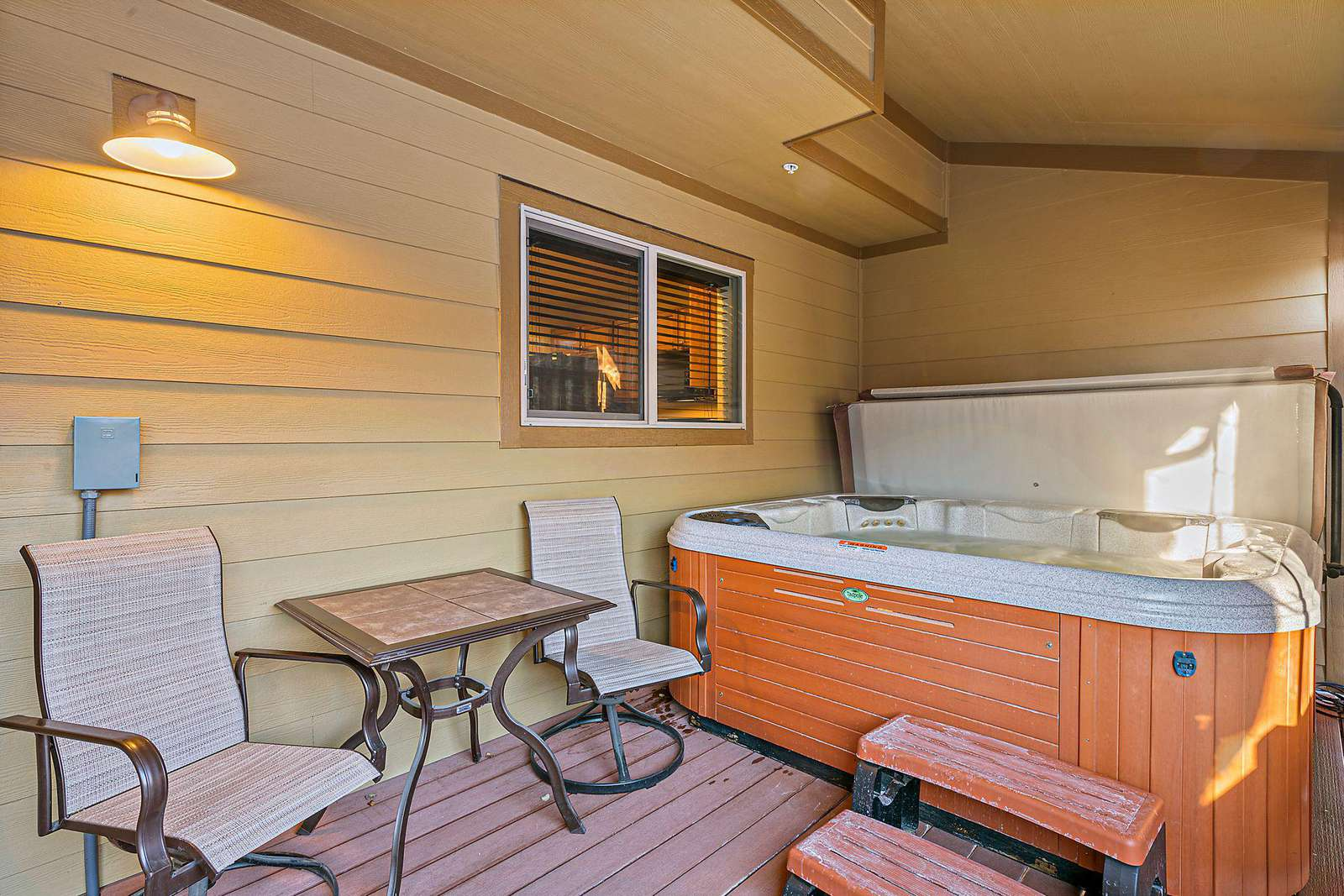 Private deck and hot tub