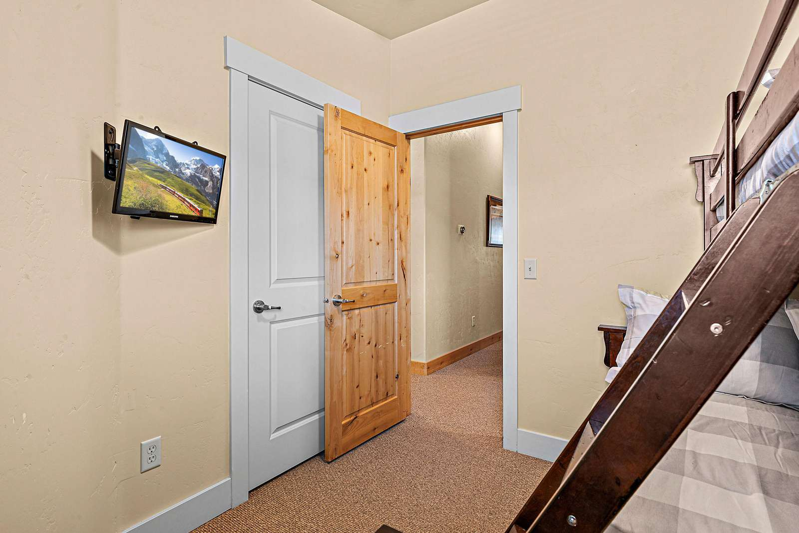 Bunk room with TV and closet space available