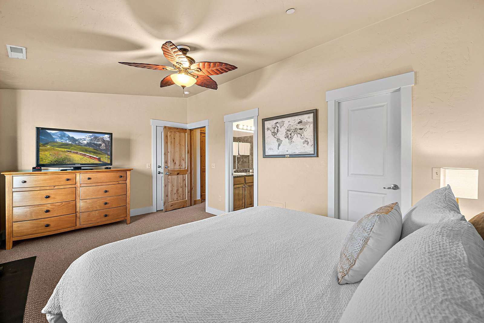 Master bedroom with closet and dresser space