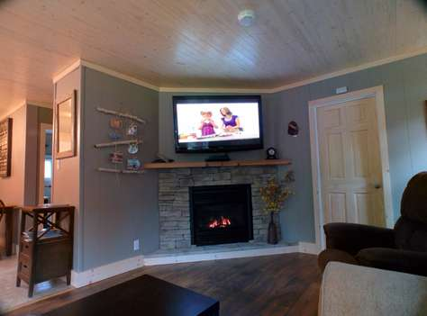Big Screen TV over Fireplace
