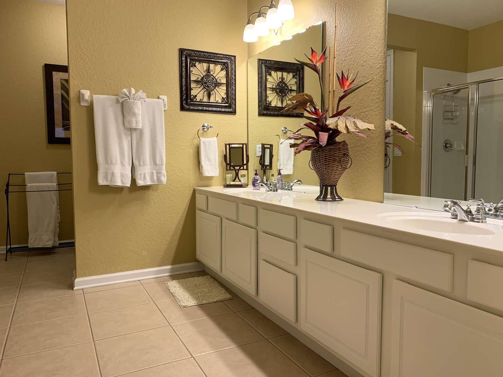 En-suite master bathroom with double sinks