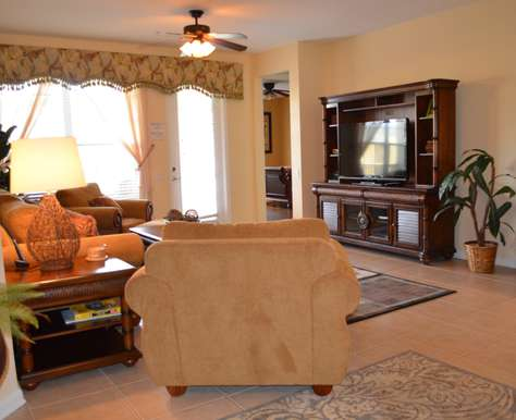 Large HDTV in Living Room, Blu-Ray DVD player, and Wii console